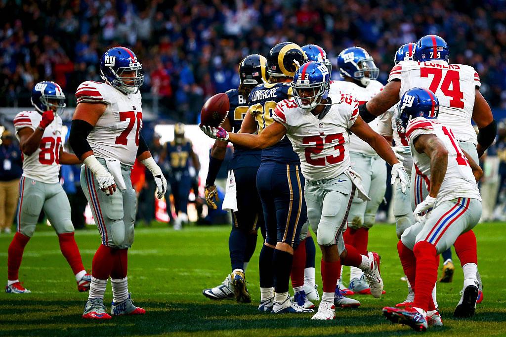 Feria de intercepciones en Londres, Giants vencieron a Rams